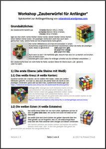 Spickzettel zum Zauberwürfel Workshop » Rolands Zauberwürfel Blog